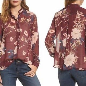Lucky Brand | NWOT Ruffle Sheer Floral Blouse